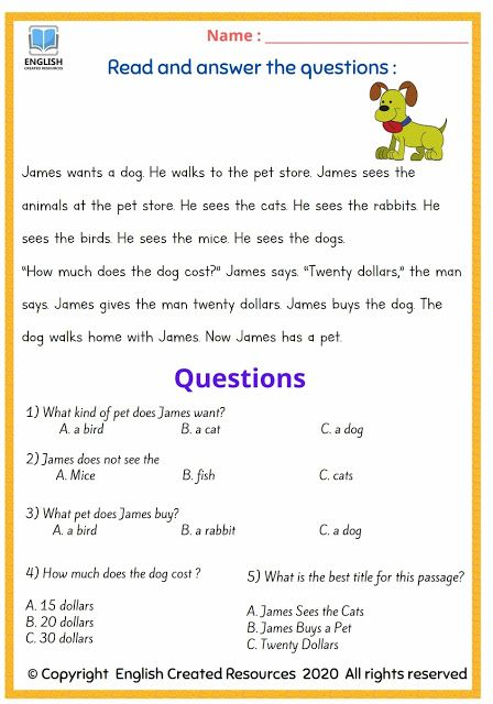 Reading Comprehension Grade 2 2nd Grade Reading Comprehension, Reading  Comprehension, Reading Comprehension Passages