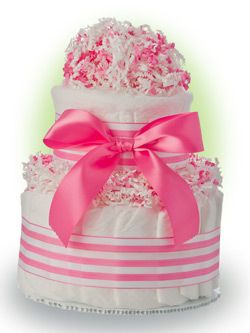 Here is a cute baby cake that makes a perfect gift for baby girls. Our Lil'  Baby Cake has two layers of premium Pampers Swaddlers diapers bundled into a cake. The ribbon is easy to remove so that every diaper is useable!  Only $24.95