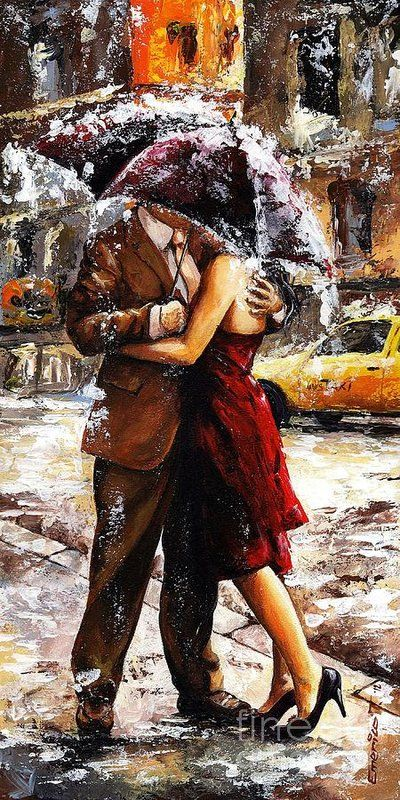 Amorous Print featuring the painting Rainy Day - Love In The Rain 2 by Emerico Imre Toth