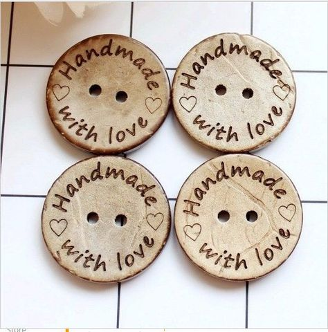 Personalised Wood Buttons Handmade with Love Products Crochet Knit 20mm Medium