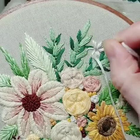 "Cardoso on Instagram: ""My love Embroidery ... More stitching. This was the same session as the last video I posted. Here I added a white flower and some fun…"""