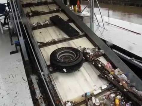 In this video by the Waterfront Partnership of Baltimore, Inc., the Inner Harbor Water Wheel receives its first major flow of trash on the morning of Friday, May 16th.