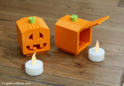 LEGO Pumpkin Lanterns - Frugal Fun For Boys and Girls - How to Build Pumpkin Lanterns with LEGO Bricks – Frugal Fun For Boys and Girls The Effective Pict - Lego Halloween, Lego Design, Design Design, Bloc Lego, Lego Pumpkin, Lego Food, Lego Challenge, Lego Boxes, Lego Activities