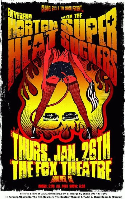 Original concert poster for Reverend Horton Heat at The Fox Theatre in Boulder, CO in 2012. 11 x 17