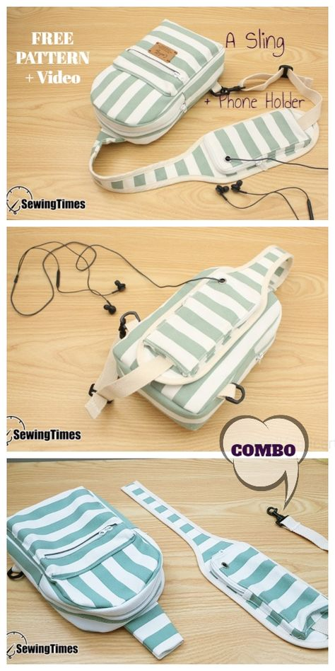 DIY mobile phone holder Sling Bag Combo free sewing pattern + video, Source by Barbara_noel_love_diy bags Bag Sewing Pattern, Bag Pattern Free, Bag Patterns To Sew, Sewing Patterns Free, Free Sewing, Fanny Pack Pattern, Duffle Bag Patterns, Backpack Pattern, Knitting Patterns
