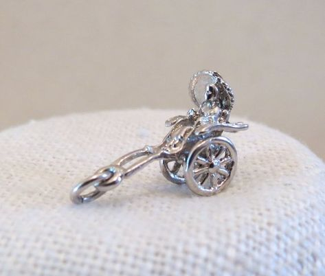 925 Sterling Silver Push Mower Charm Made in USA