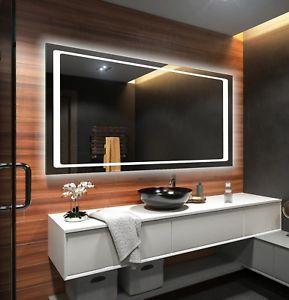 Illuminated Bathroom Mirror With Backlit Led Lights Wall Mounted Battery Powered Ebay Led Mirror Bathroom Mirror Wall Bathroom Backlit Bathroom Mirror