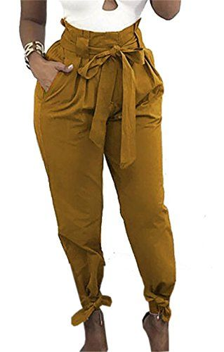 163476821fc5 JXG-Women Casual Belted Tie High Waist Baggy Jogger Harem Trousers ...