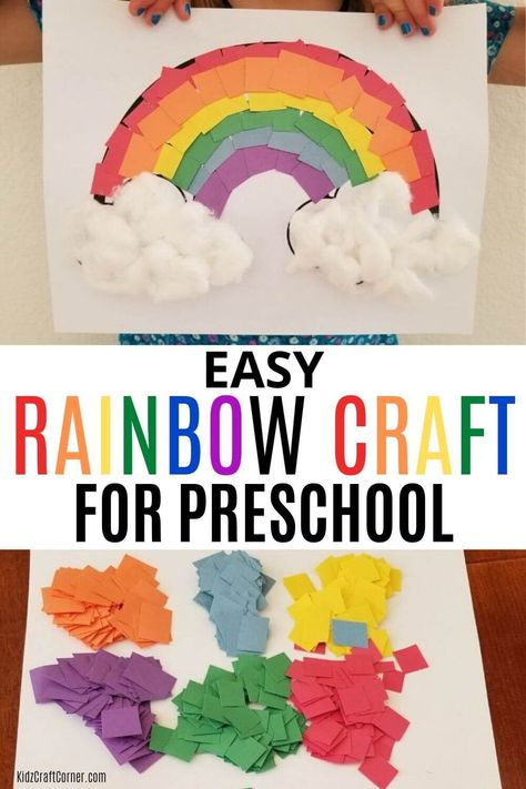 Easy construction paper kids craft for preschoolers and toddlers. This is the perfect craft for boys and girls who are learning their colors. Try this fun rainbow craft! Arts And Crafts For Kids Easy, Summer Arts And Crafts, Summer Crafts For Toddlers, Spring Crafts For Preschoolers, Kids Fun, Kids Crafts, Toddler Paper Crafts, Easy Toddler Crafts, Construction Paper Art
