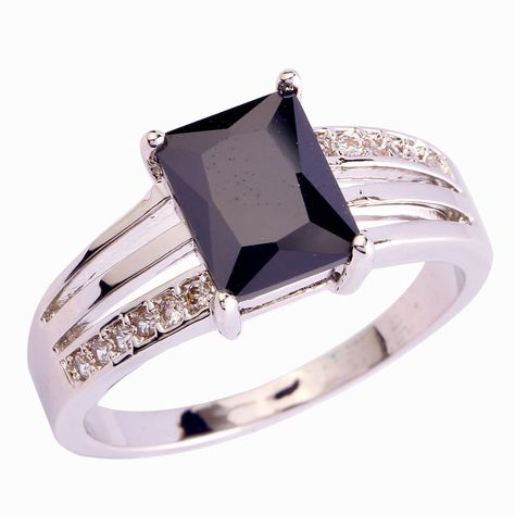 Oval Cut Black Spinel /& White Topaz Gemstone Silver Rings Size 6 7 8 9 10 11 12