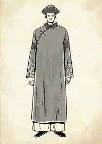 満州服を着た弁髪の清朝の男性のイラスト