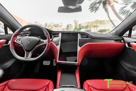 Tesla Model X Custom Interior in Bentley Red with Matte Carbon Fiber ...