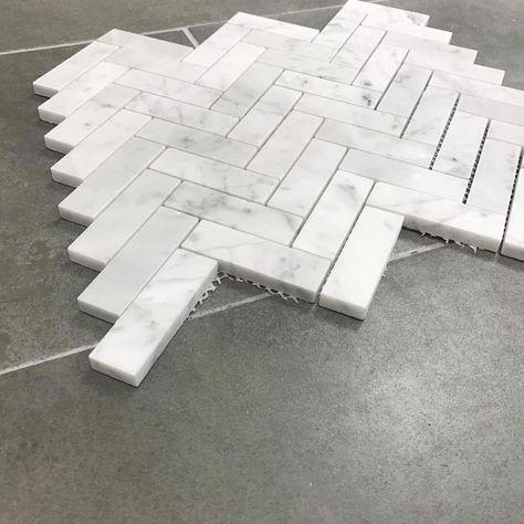 Herringbone Polished Finish Marble Tile Mosaic – Carrara x - Bathroom Flooring Carrara, Herringbone Backsplash, Herringbone Marble Floor, Grey Marble Tile, Marble Tile Backsplash, White Marble, Marble Mosaic, Marble Tile Bathroom, Small Bathroom