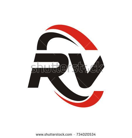 Rv Logo Initial Letter Design Template Vector With Swoosh Around