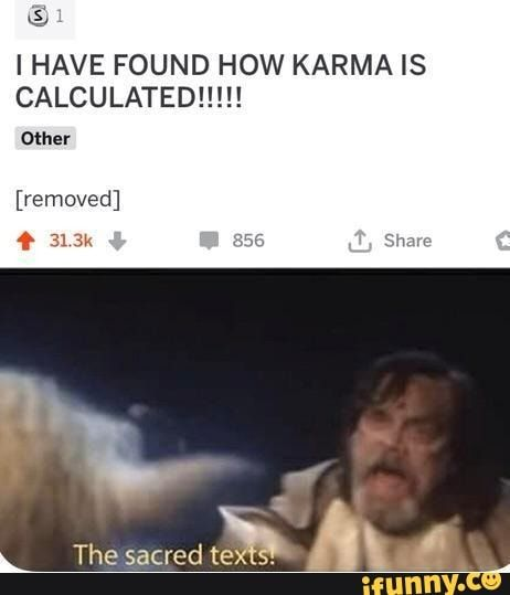 Ihave Found How Karma Is Calculated Other Removed Ifunny In 2021 Funny Memes Can T Stop Laughing Funny Relatable Memes