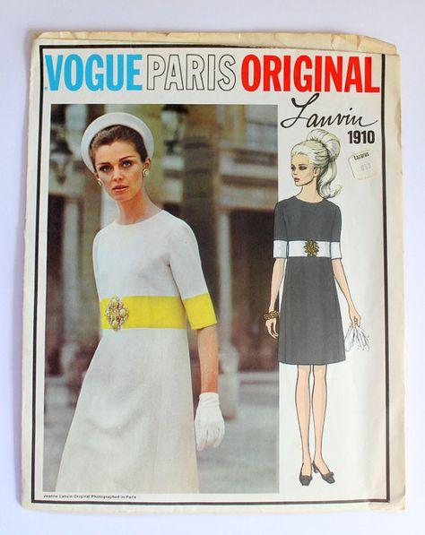 767d922f6f2f SALE Vintage Lanvin Vogue Pari Originals Dress Pattern sz 12  1910 ...
