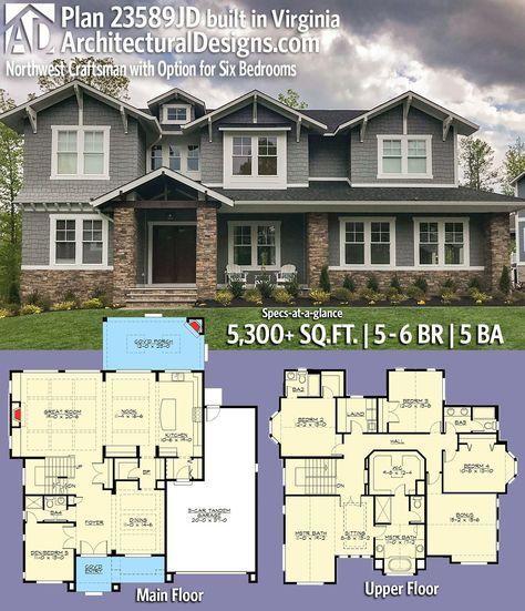 Plan 23589jd Option For Six Bedrooms Craftsman House Plans Craftsman House Craftsman House Plan