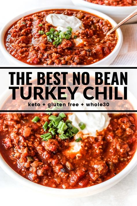 This healthy turkey chili is the very best! It's loaded with ground turkey tomatoes green chiles and lots of seasonings. So hearty and easy to make - ready in only 30 minutes! Dairy-free gluten-free Paleo and Keto too! Ground Turkey Chilli, Healthy Ground Turkey, Whole30 Ground Turkey Recipe, Crockpot Turkey Chili, Ground Turkey Recipes Whole 30, Crockpot Ground Turkey Recipes, Meals With Ground Turkey, Slow Cooker Chili, Healthy Turkey Recipes