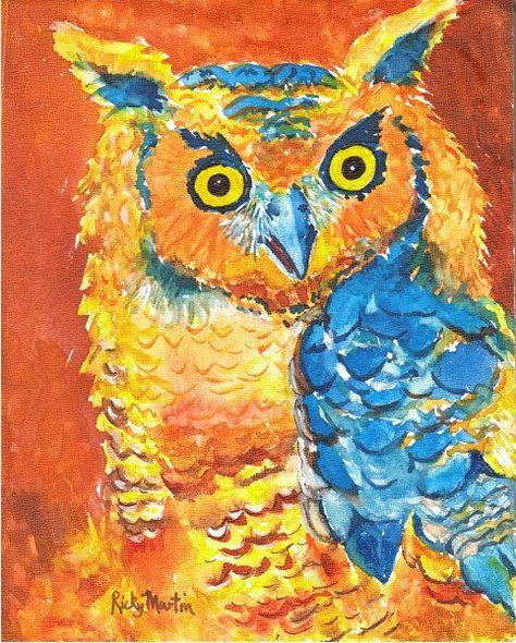 Owl, Bird - Kids, Toddlers, Nursery,Fine Art - Original Watercolor by ebsq Artist Ricky Martin
