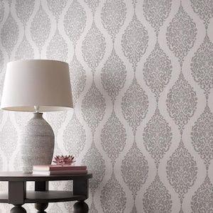 Graham Brown Midas 56 Sq Ft Grey Vinyl Textured Damask Unpasted Wallpaper Lowes Com Grey Wallpaper Living Room Damask Wallpaper Living Room Grey Wallpaper