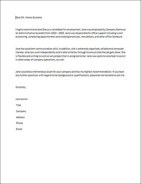 Reference Letter Of Recommendation Sample  Writing A Letter Of