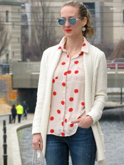 loft red polka dot blouse, distressed boyfriend jeans, clear sunglasses, express quilted bag, kate spade bow flats