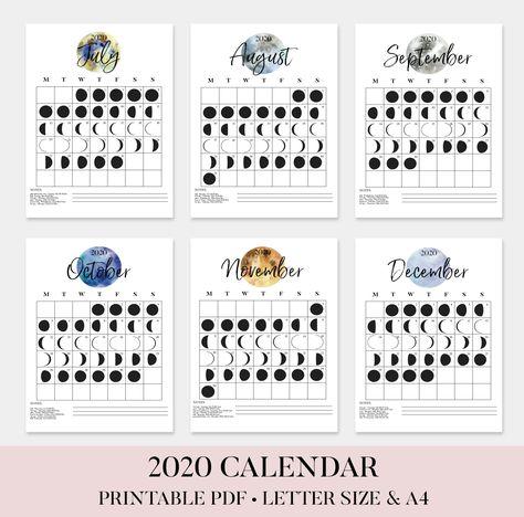 2020 Lunar Phase Calendar 2020 Moon Calendar 2020 Full Moon
