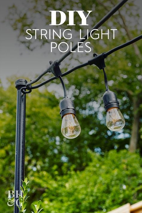 If you don't have any deck or porch posts accessible or trees you can use to string outdoor lights, this backyard project can help you suspend lights anywhere with minimal effort. See how we did it and check out our expert advice to hang string lights correctly the first time. #outdoorstringlights #diy #howtohanglights #porchdecor #bhg Backyard Patio, Backyard Landscaping, Patio Lighting, Lighting Ideas, Club Lighting, Wall Lighting, Modern Lighting, Patio String Lights, Outdoor Hanging Lights