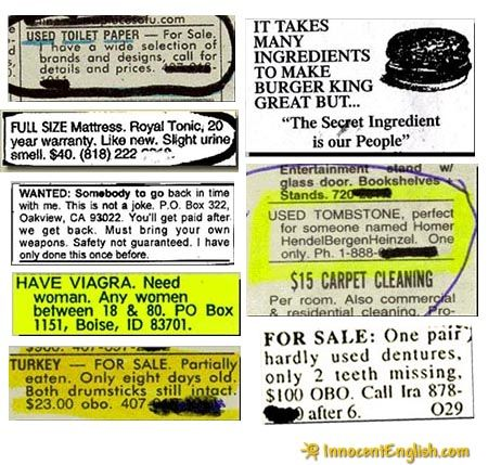 Funny Newspaper Ads