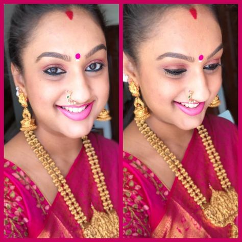 Preeta Vijaykumar wearing gold beads long chain with nakshi pendant and jhumkas
