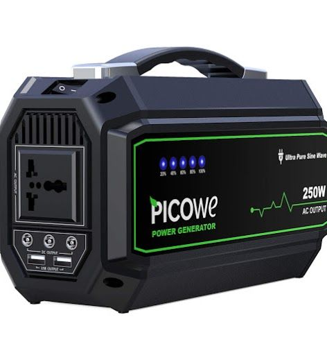 New Review Picowe 250w Portable Generator Rechargeable 67500mah Lithium Battery Pack 250wh Solar Generator With Solar Charger Solar Generator Power Generator