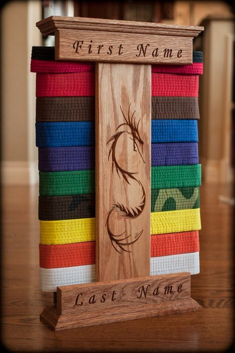 This Handmade Personalized Karate Belt Display Is Stunning Available In Red Oak Maple And W Martial Arts Belts Martial Arts Belt Display Karate Belt Display