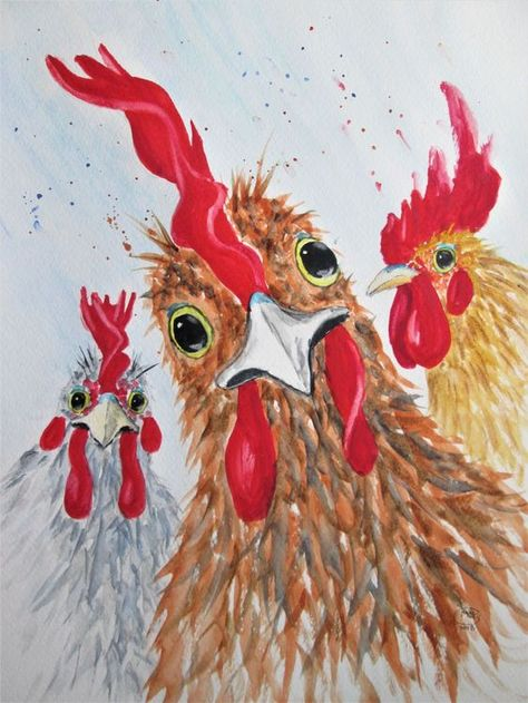 Charming Chickens, roosters - In-context view (studio) More to see in the shop.