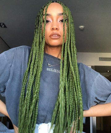 17+ Light green box braids ideas