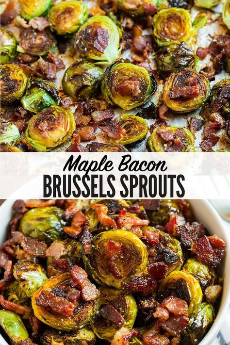 Crispy, caramelized Maple Bacon Brussels Sprouts are impossible to resist! Even Brussels sprouts skeptics love this recipe. Great for sides and parties! Maple Bacon Brussel Sprouts, Roasted Sprouts, Sprouts Salad, Brussel Sprout Salad, Roasted Brussels Sprouts, Recipe With Brussel Sprouts, Thanksgiving Brussel Sprouts, Healthy Brussel Sprout Recipes, Brussle Sprouts
