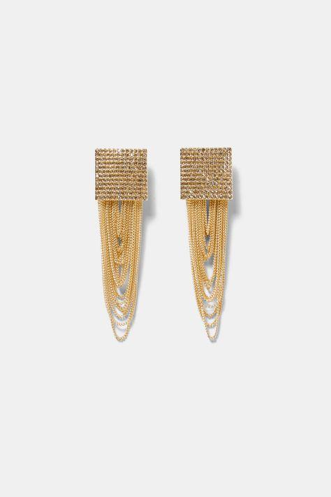 Gold Chunky Pearl Dandle Drop Earrings Zara Style