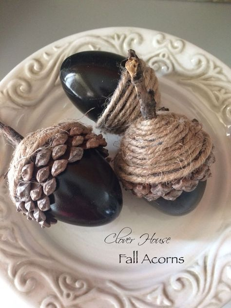 """She saw this insanely cool acorn idea """"floating around the internet"""" and had to make it. Look what she did! I saw this cute acorn idea floating around the internet and I wanted to make a few for my Fall decoratin Acorn Crafts, Fall Crafts, Thanksgiving Crafts, Holiday Crafts, Egg Crafts, Plastic Pumpkins, Glands, Plastic Easter Eggs, Rustic Fall Decor"""