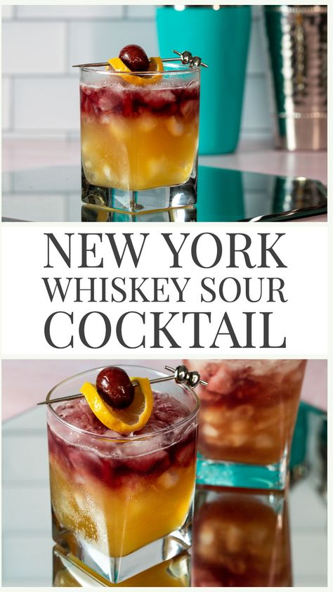 New York Whiskey Sour Cocktail - - The New York Sour Cocktail is a fun twist on a classic whiskey sour! Just add a red wine float to your whiskey sour and you are good to go! Fruity, sweet and sour! Whiskey Sour, Sour Cocktail, Cocktail Drinks, Liquor Drinks, Alcoholic Drinks, Easy Whiskey Cocktails, Drinks With Whiskey, Bartender Drinks, Beverages