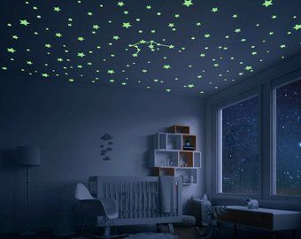 Glow In The Dark Galaxy Ceiling Space Themed Bedroom Decor Moon Planet Comet Shooting Stars White Version Teto Do Quarto Ideias Para Decorar Quartos