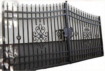 Hammered Swing Double Gates Bespoke Wrought Iron Metal Secure Driveway 4m Iron Steel Wrought Iron Metal Garden Gates