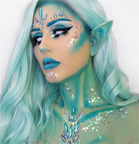 25 Halloween Makeup Looks to Scream Over - Skin & Makeup - Modern Salon These Halloween looks are to die for. Elf Makeup, Fairy Makeup, Cosplay Makeup, Mermaid Makeup, Costume Makeup, Skin Makeup, Beauty Makeup, Fairy Fantasy Makeup, Makeup Brushes