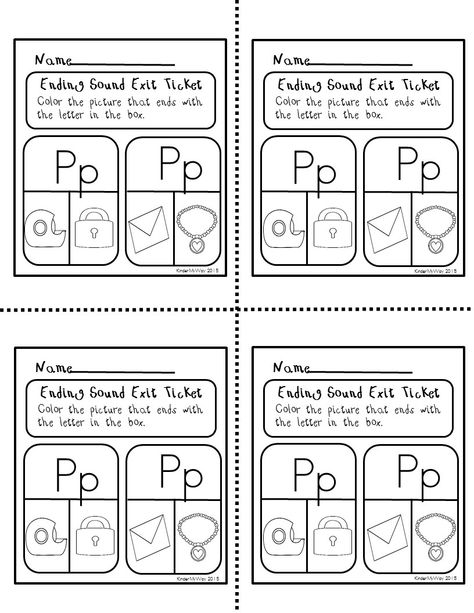 Ending Sounds Exit Tickets - exit letter