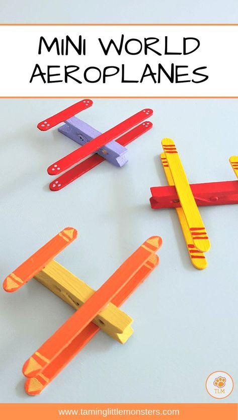 mini world play ideas. Turn your kids next craft activity into their next toy. These planes were easy to make, fun to paint and great to go flying through the clouds with. Source by katflay ideas for kids Toddler Art, Toddler Crafts, Crafts For Children, Kids Arts And Crafts, Cool Crafts For Kids, Craft Kids, Craft Projects For Kids, Toy Craft, Craft Stick Crafts