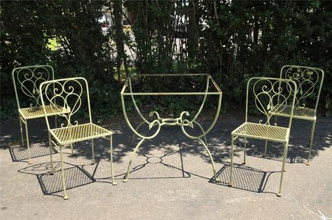 Vtg Salterini Wrought Iron Art Nouveau Style Patio Garden Set Table 4 Chairs Ebay