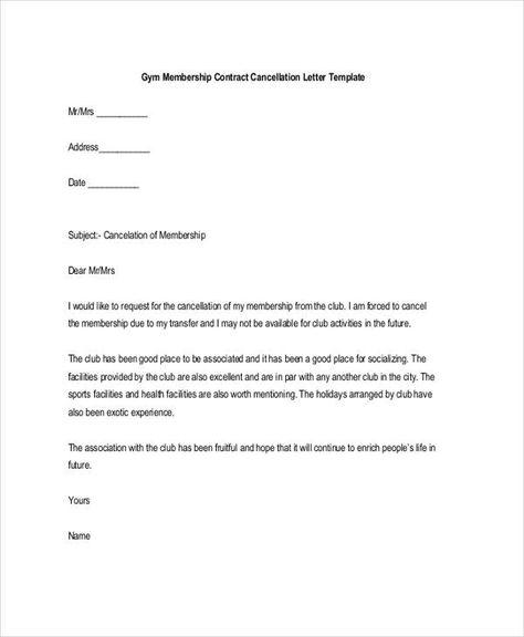 cancel gym membership letter