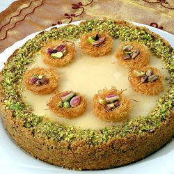 Mid-eastern halva cheesecake with honey and pistachios