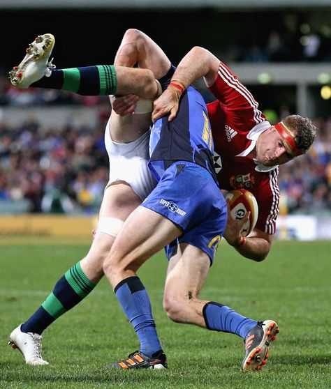 Cian Healy of the Lions is tackled during the tour match between the Western Force and the British & Irish Lions at Patersons Stadium on June 2013 in Perth, Australia