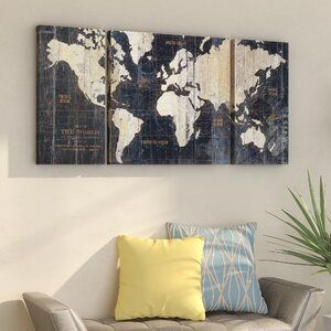 Wrought Studio Old World Map Blue 3 Piece Wrapped Canvas Graphic Art Print Set Reviews Wayfair In 2020 World Map Wall Art Map Wall Art Art Print Set