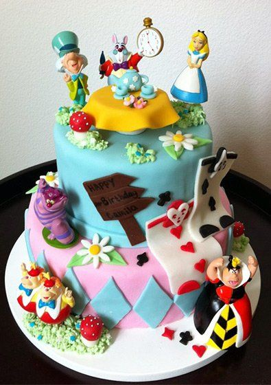 Amazing Alice In Wonderland Birthday Cake Whimsical Cake Design Personalised Birthday Cards Cominlily Jamesorg