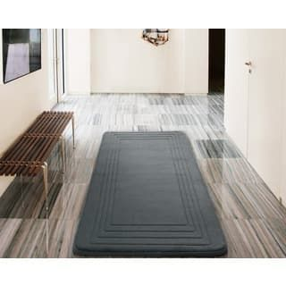 Vcny Hotel Bordered Foam Cushioned Microfiber Bath Rug 24 X 60